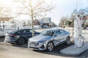 Audi e-Tron charging on b2bev